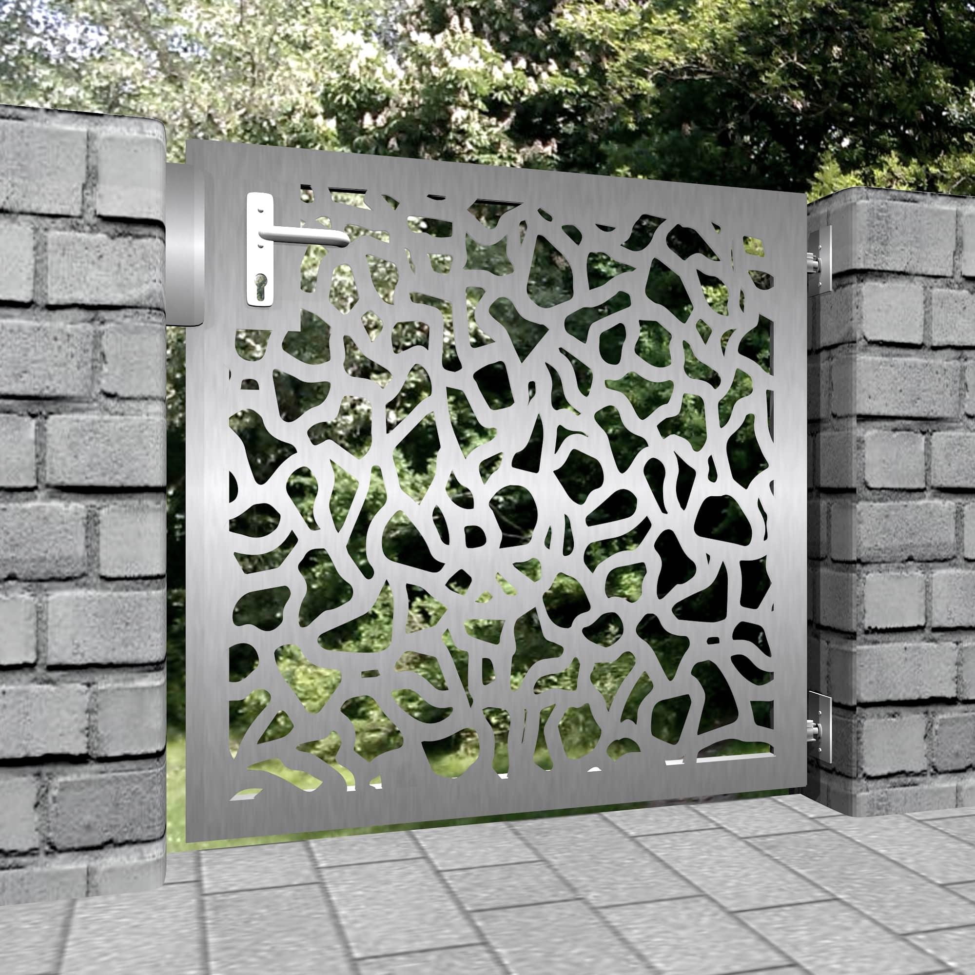 Gartentür Edelstahl 1-flügelig Laserschnitt Design AB 2
