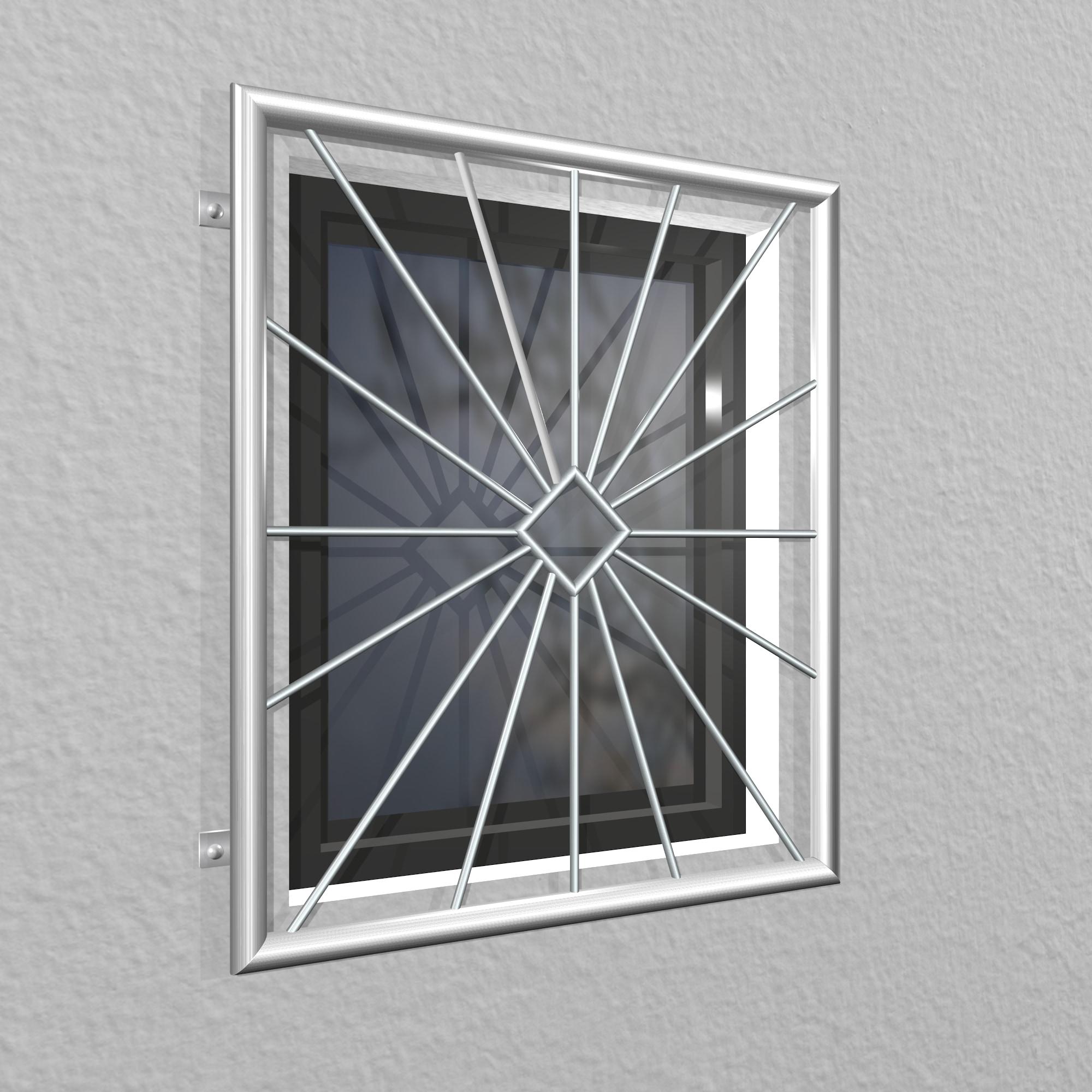 Fenstergitter Edelstahl Sonne Karo