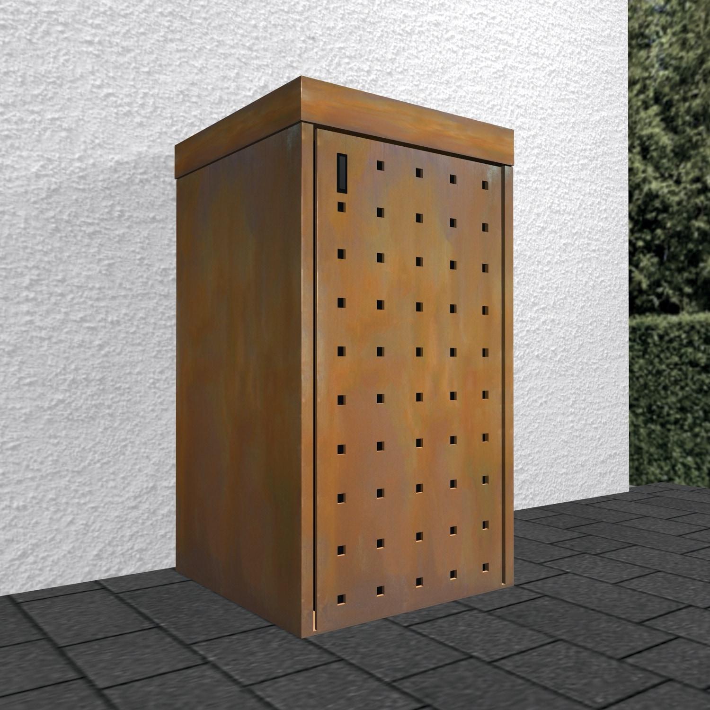 Mülltonnenbox Cortenstahl Lochmuster