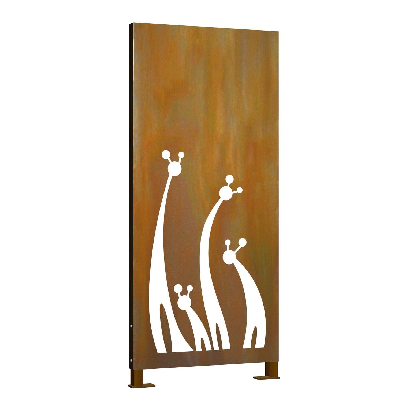 Sichtschutz Cortenstahl Stele Giraffe