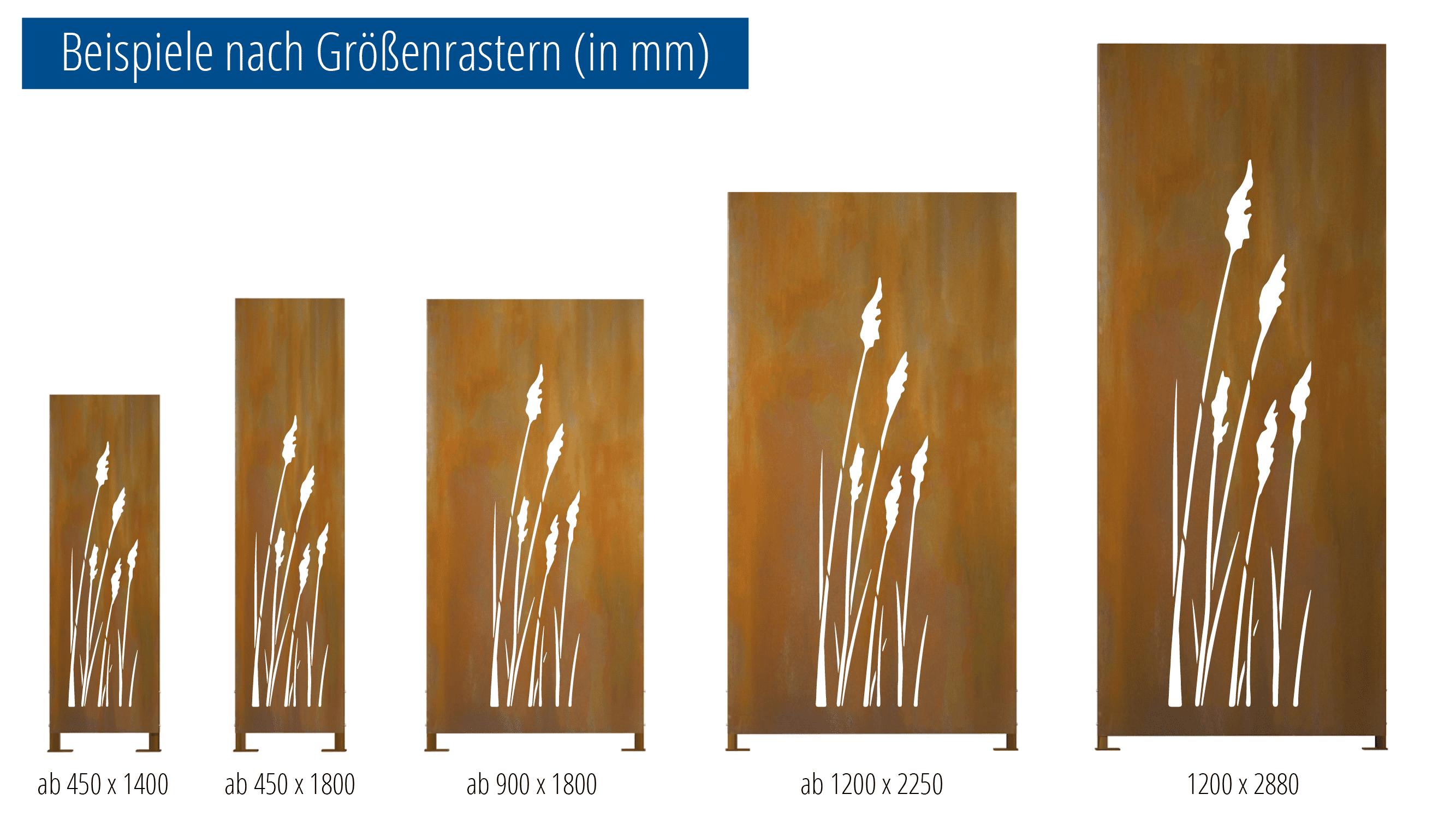 Sichtschutz Cortenstahl Stele Gräser