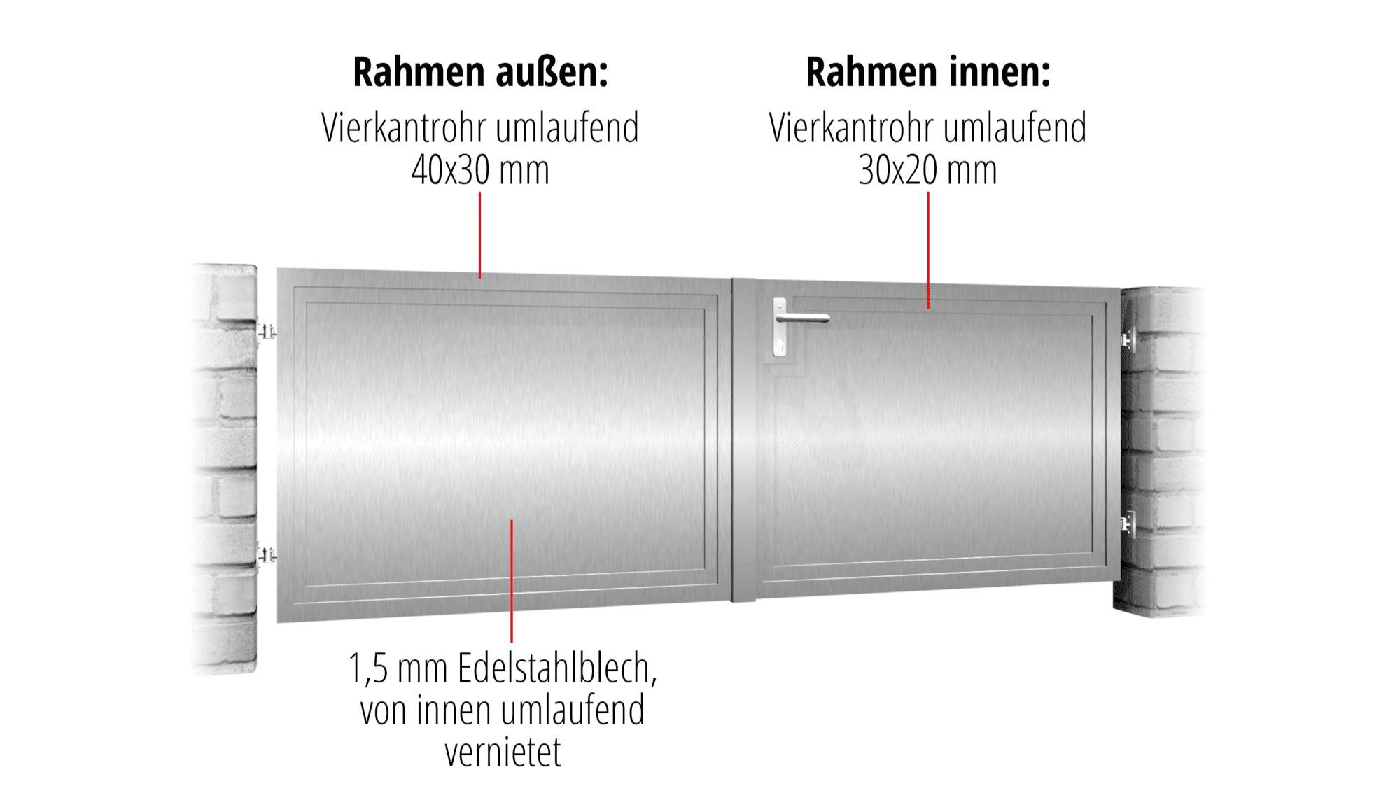 Gartentor Edelstahl 2-flügelig Sichtschutz BD, GE