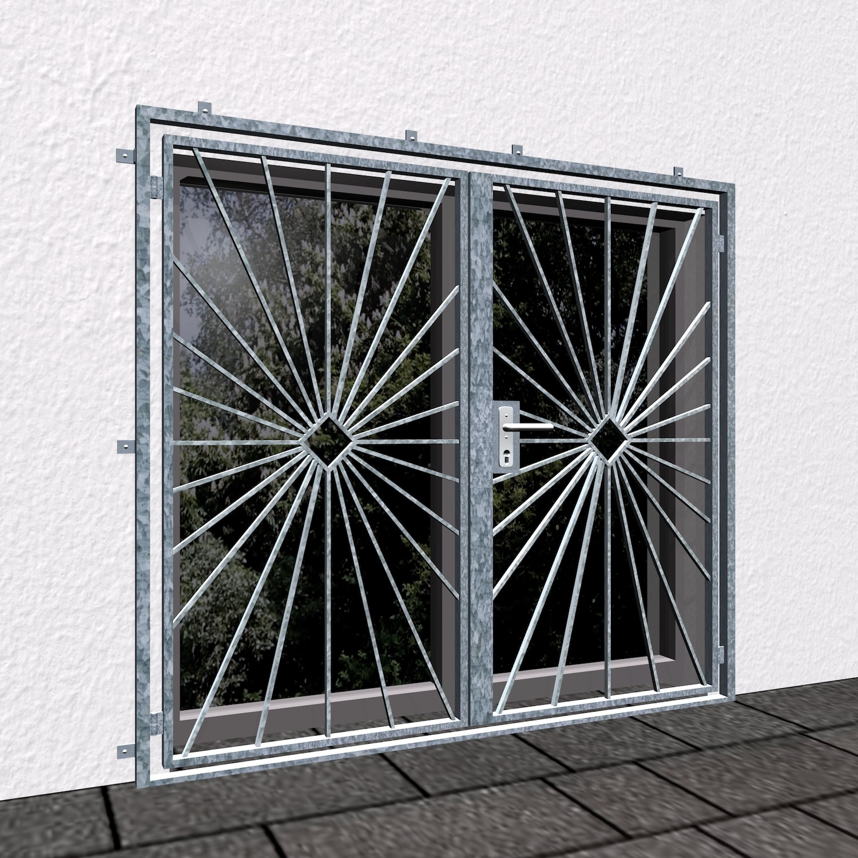 Gittertür verzinkt 2-flügelig Sonne Karo