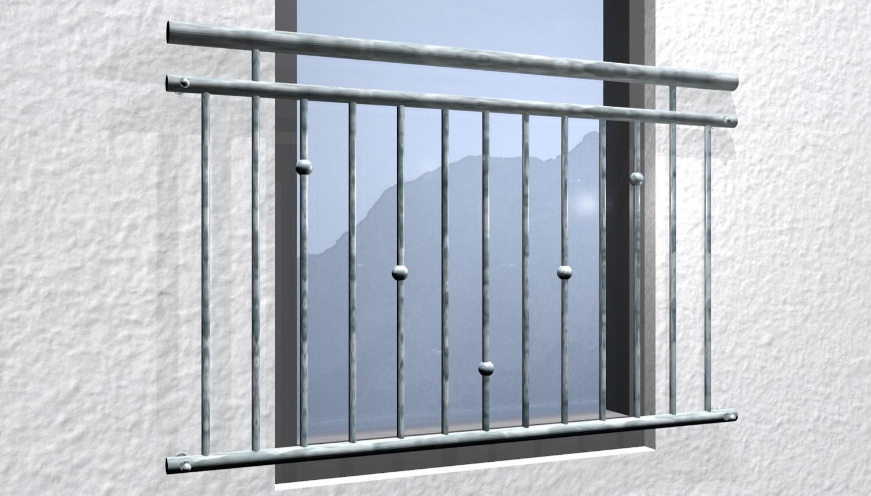 Französischer Balkon verzinkt V-Kugeln