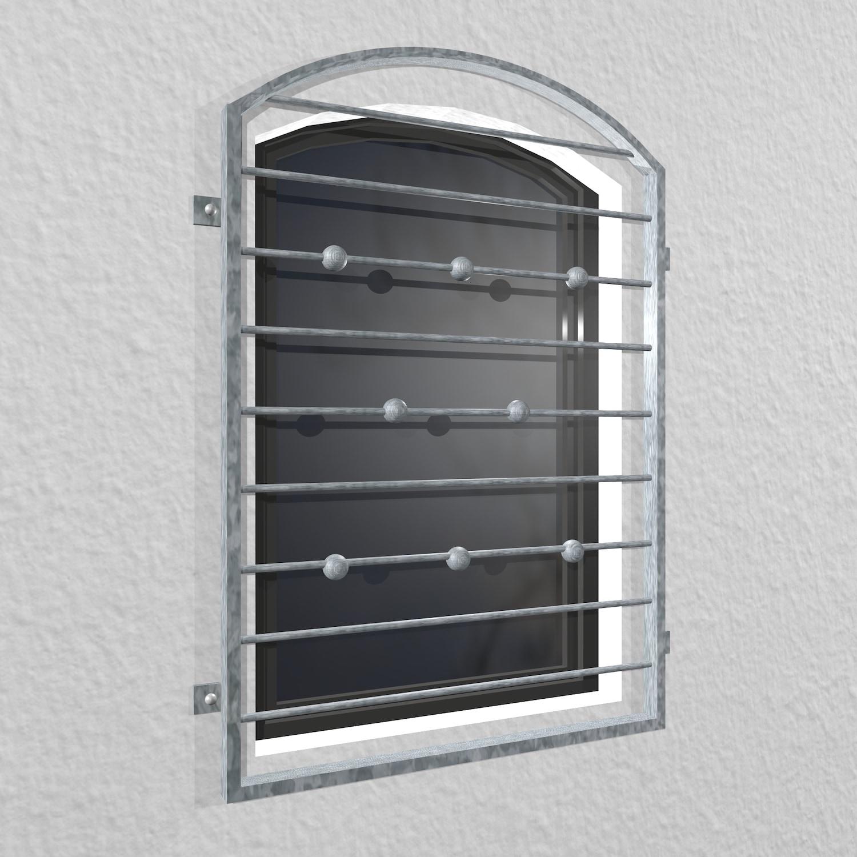 Fenstergitter verzinkt Querstab Kugel Oberbogen
