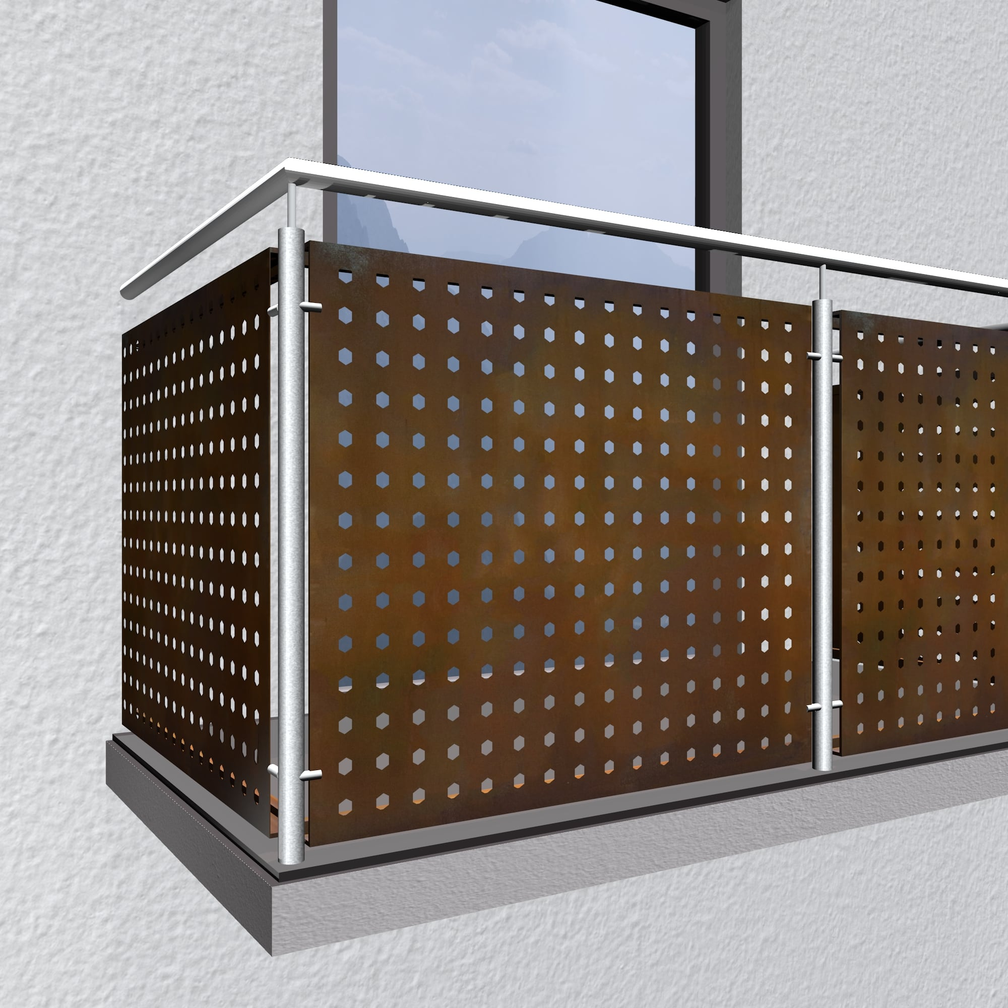 Balkonverkleidung Cortenstahl SK GE