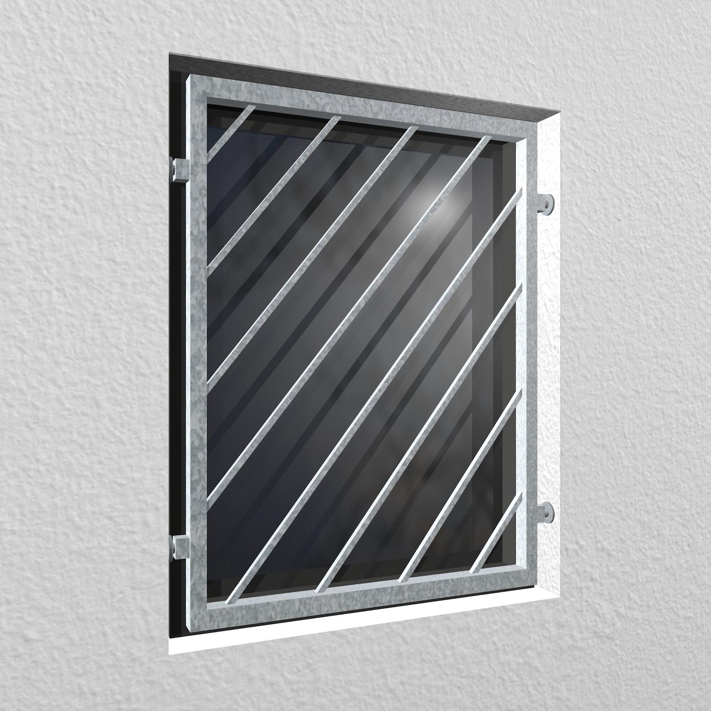 Mobiles Fenstergitter verzinkt Diagonalstab