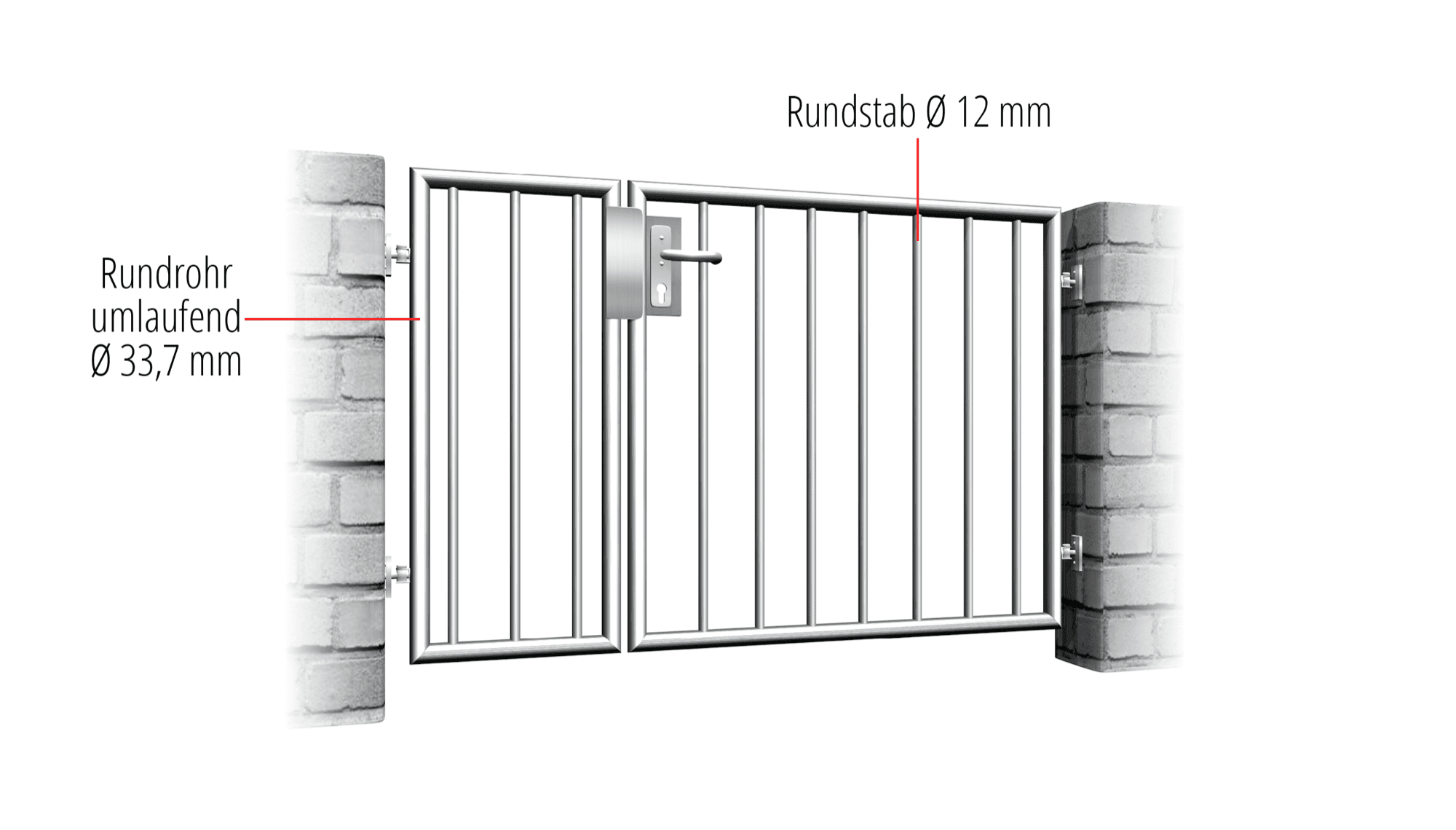 Gartentür Edelstahl 2-flügelig Vertikalstab 2, GE