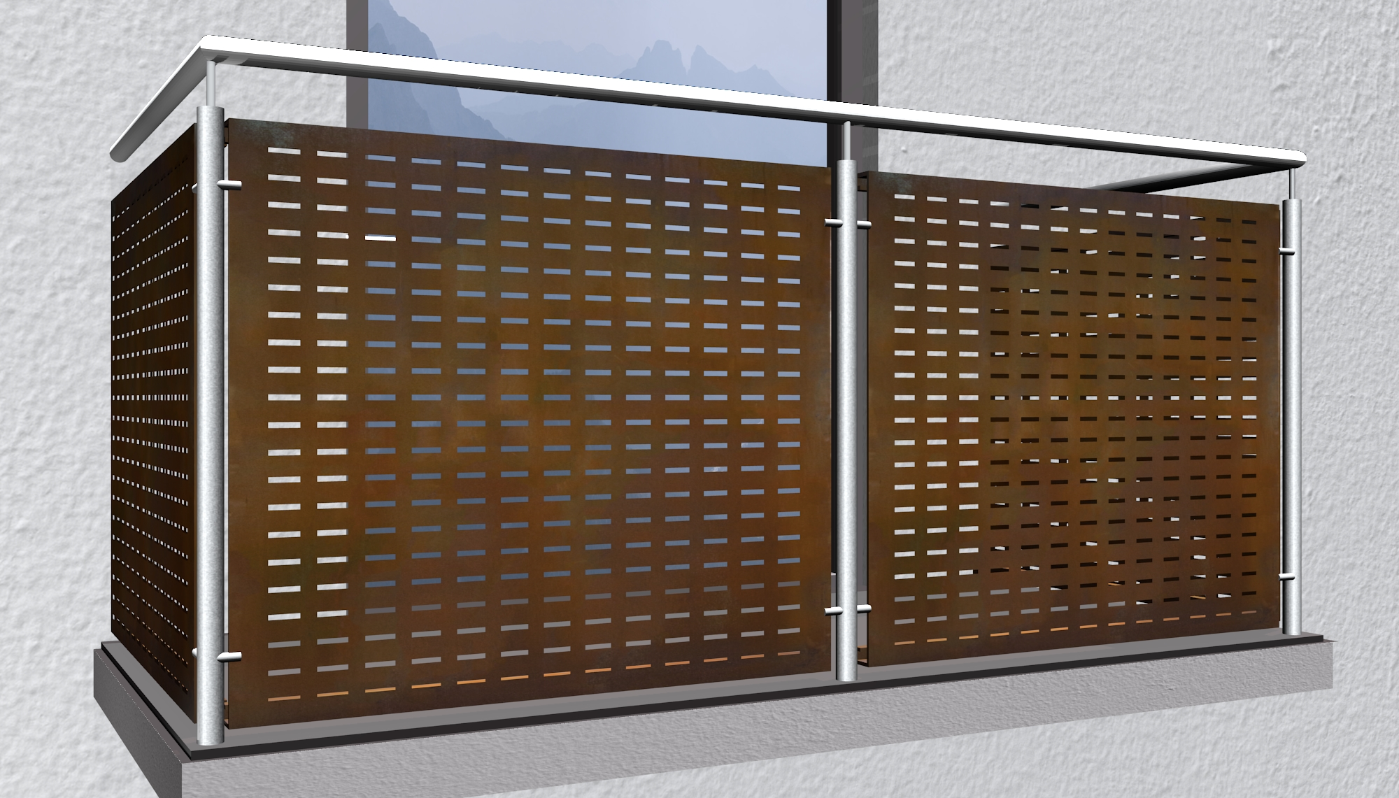 Balkonverkleidung Cortenstahl RE GE
