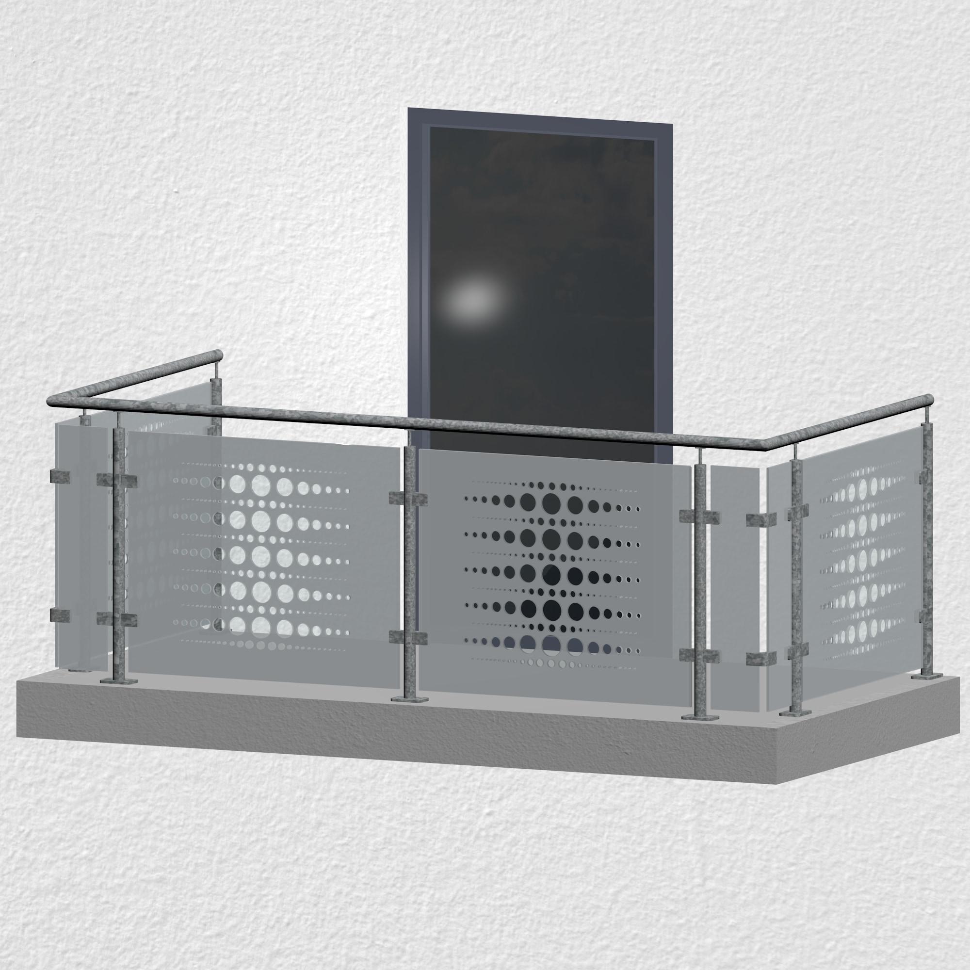 Balkongeländer verzinkt Designglas PE 2 MO