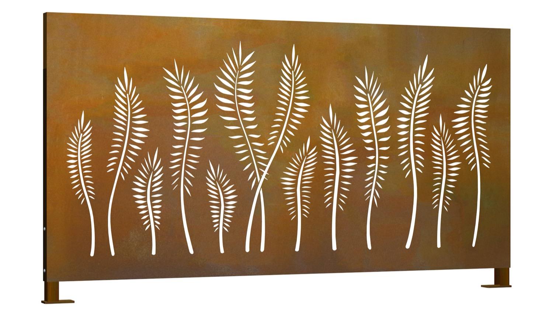 Sichtschutz Cortenstahl Stele Palme Querformat