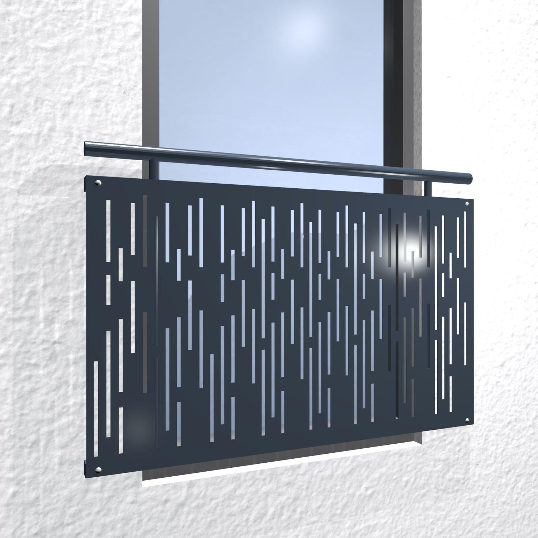 Französischer Balkon verzinkt Designblech Streifen vertikal