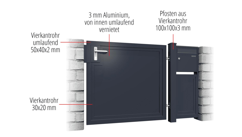 Gartentür Alu 1-flügelig Sichtschutz BD, GE, BK