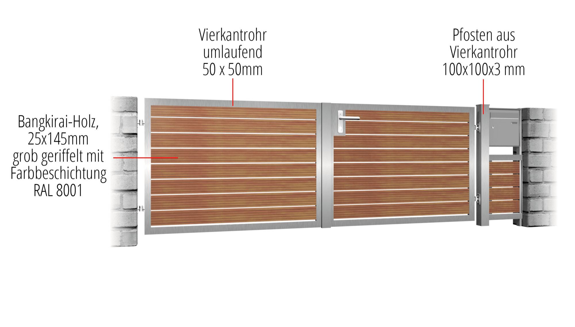 Gartentor Edelstahl 2-flügelig HFW, GE, BK