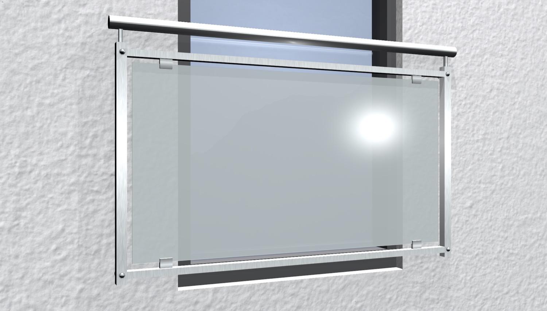Französischer Balkon Edelstahl Milchglas