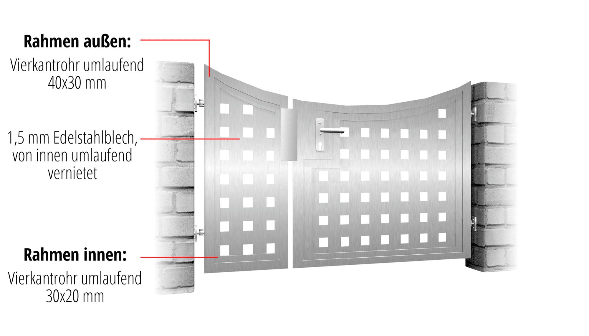 Gartentür Edelstahl 2-flügelig Sichtschutz QL, UB