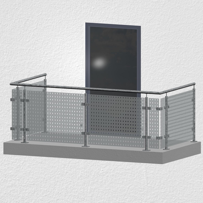 Balkongeländer verzinkt Designglas MC MO