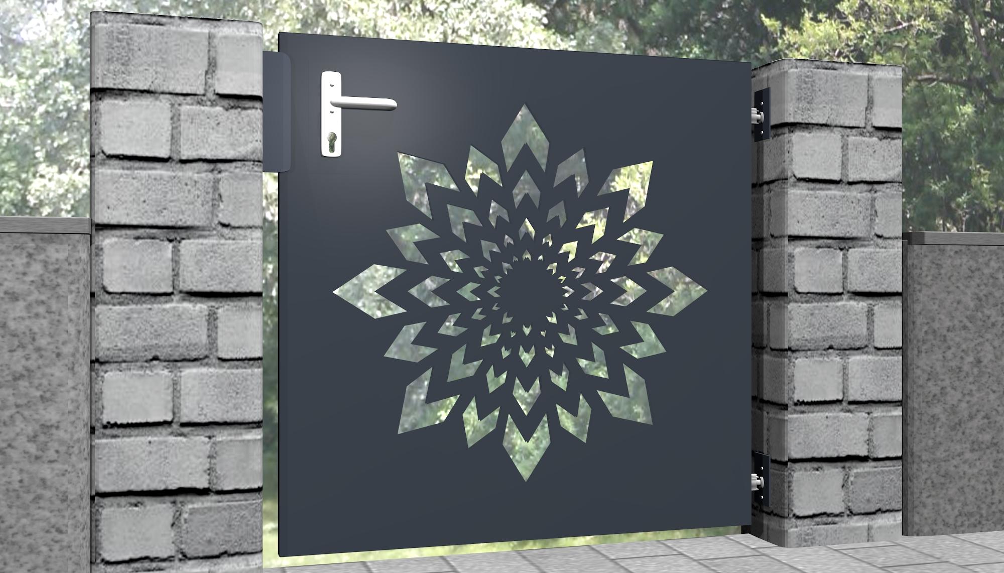 Gartentür Alu 1-flügelig Laserschnitt Design KL