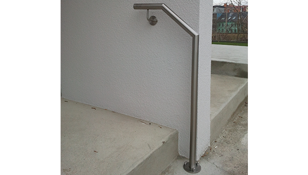 Treppenhandlauf Edelstahl - Modell abgewinkelt seitliche Wand-Treppe