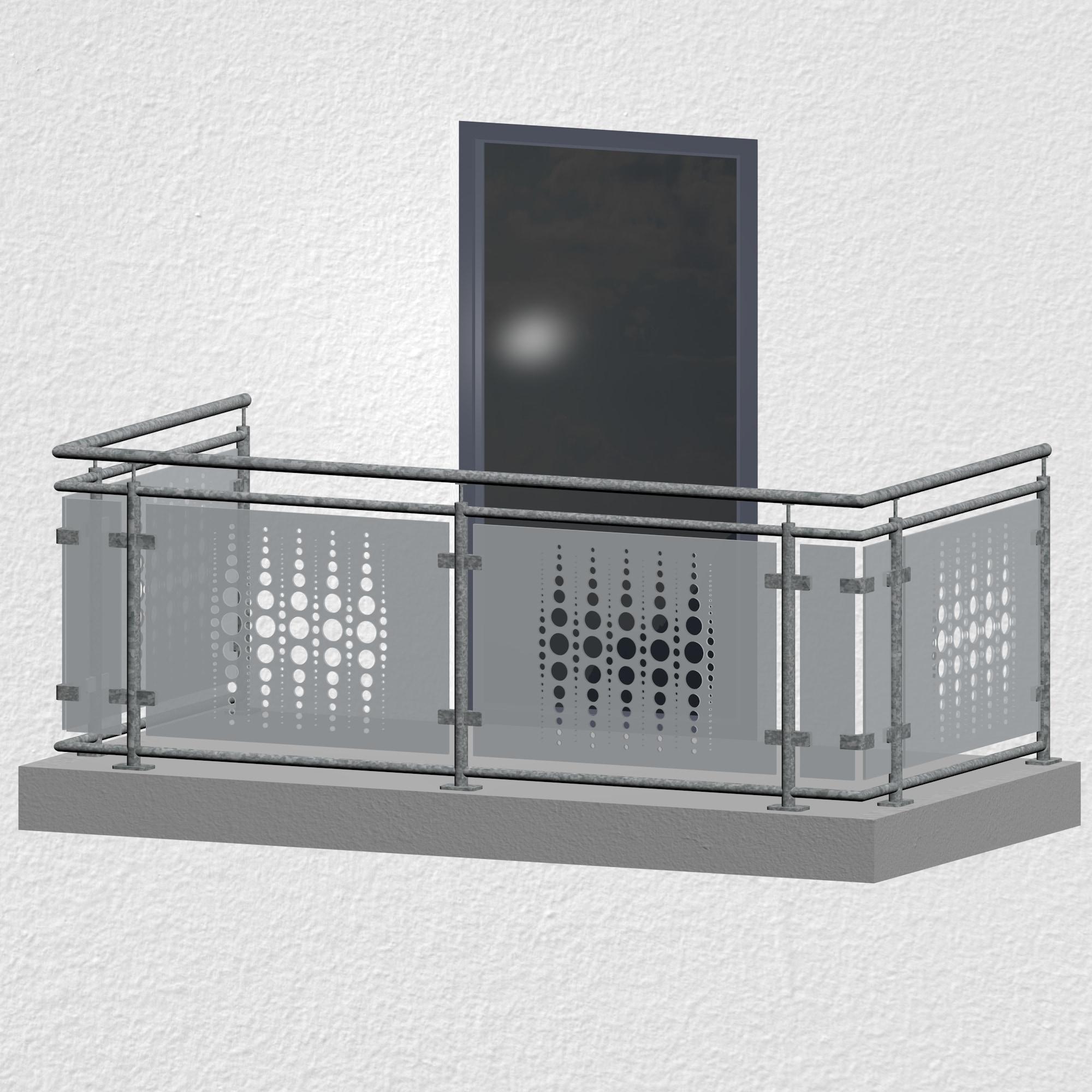 Balkongeländer verzinkt Designglas PE