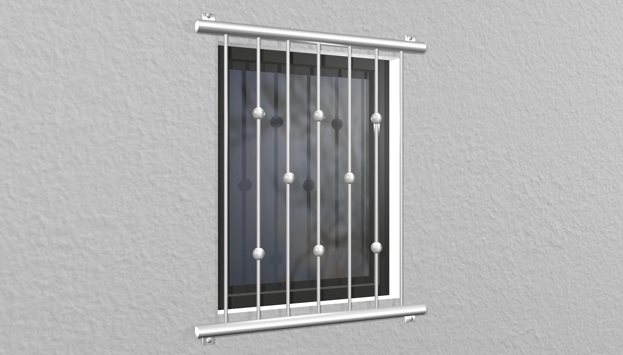 Fenstergitter Edelstahl Kugeln versetzt 2