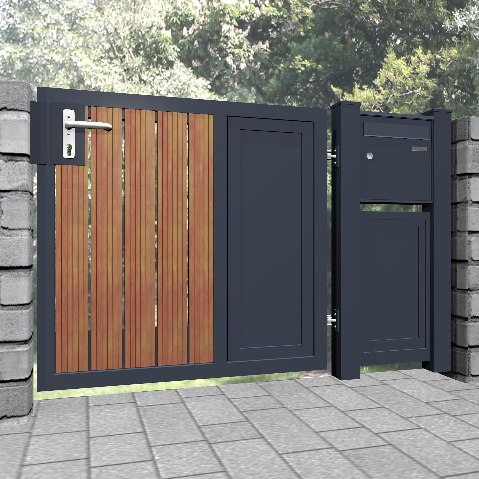 Gartentür Alu-Holz 1-flügelig Sichtschutz KSBHS, GE, BK