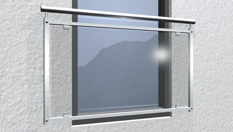 Französischer Balkon Edelstahl Klarglas