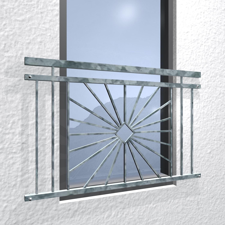 Französischer Balkon verzinkt Sonne Karo
