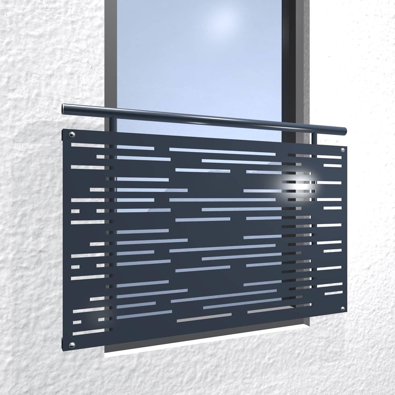 Französischer Balkon verzinkt Designblech Streifen horizontal