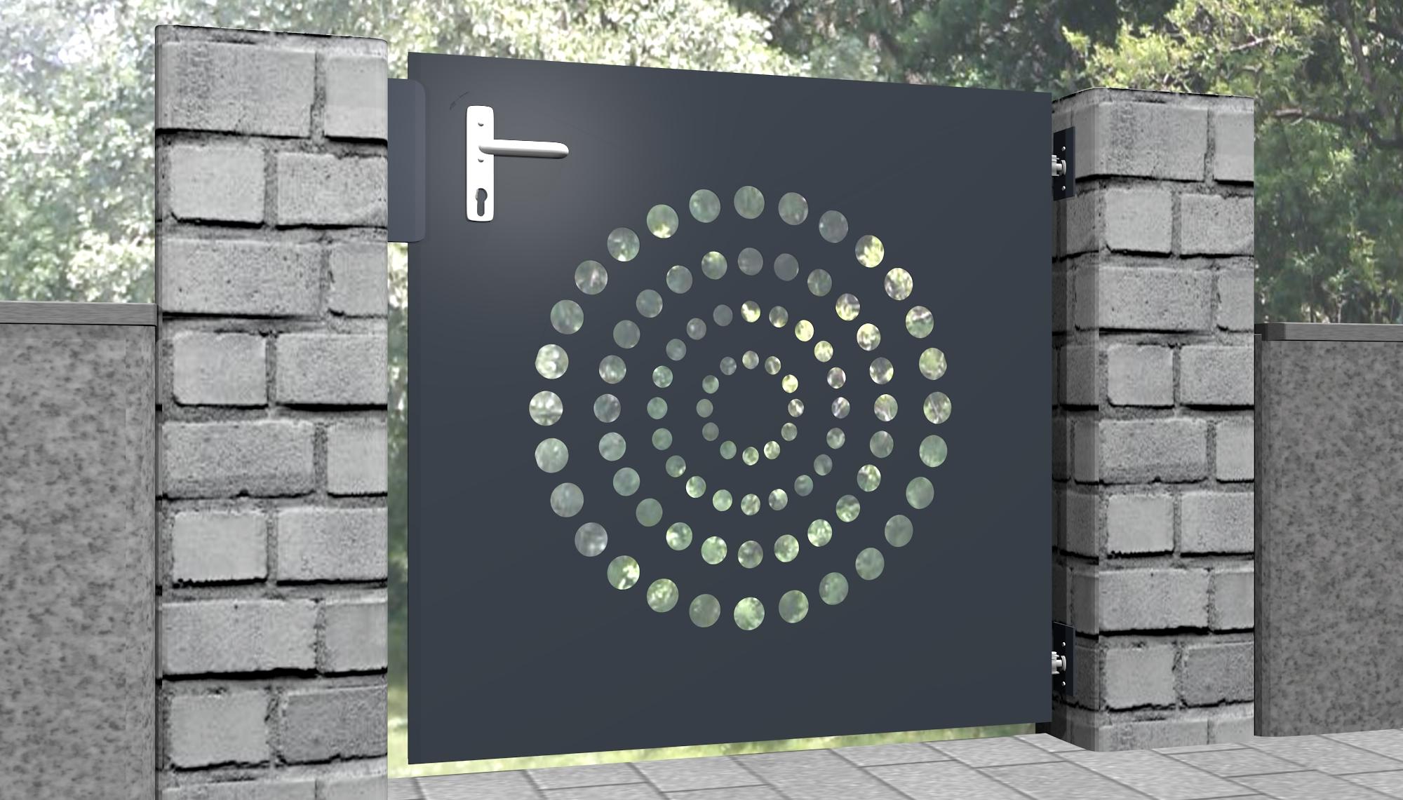 Gartentür Alu 1-flügelig Laserschnitt Design KR