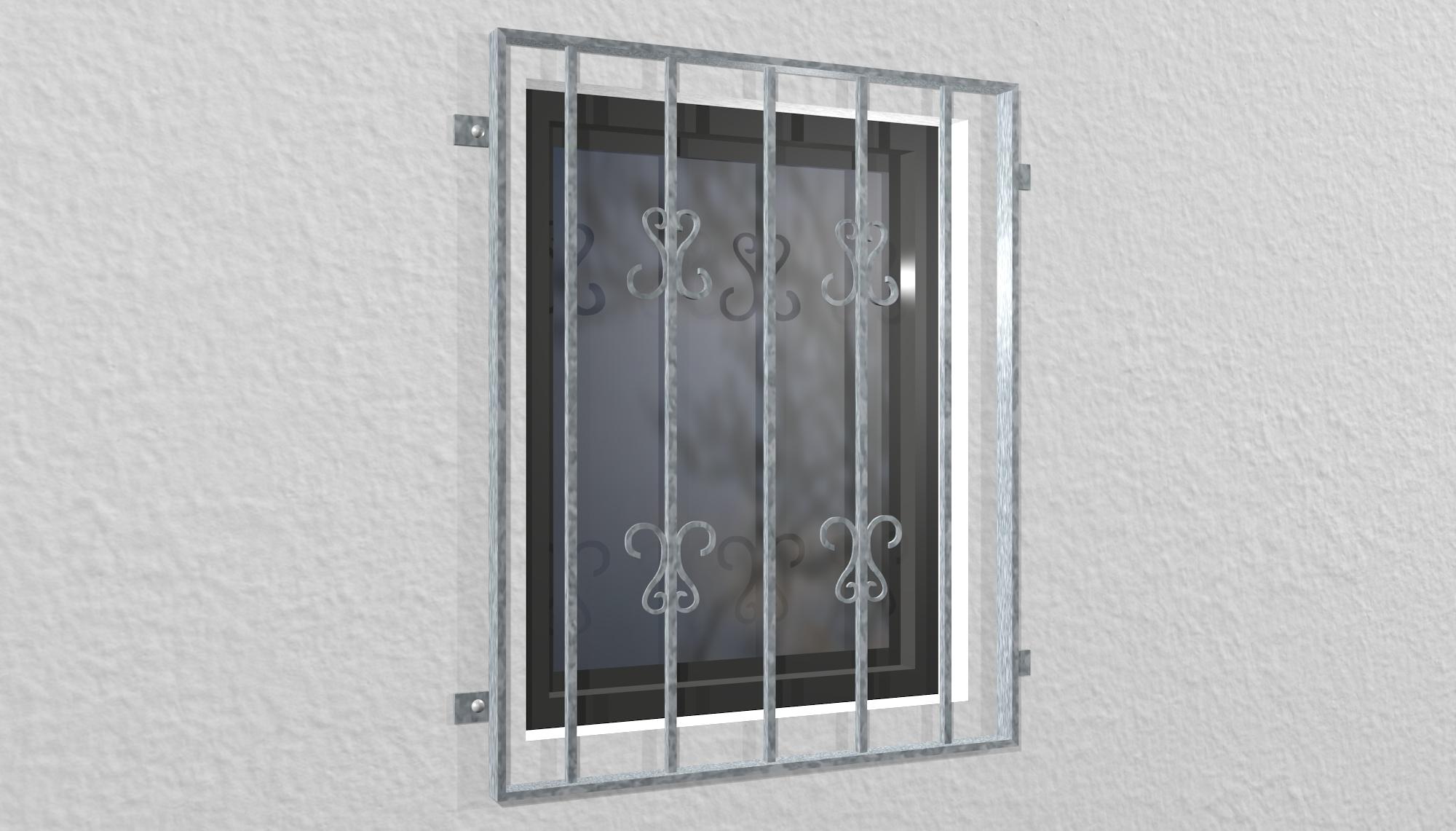 Fenstergitter verzinkt Schnörkel 2