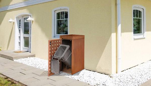 """Mülltonnenbox Cortenstahl mit Lochmuster"""""""