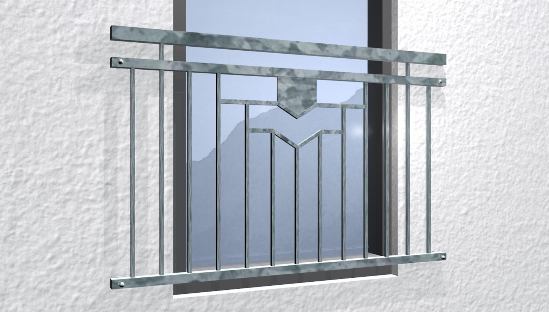 Französischer Balkon verzinkt 5-Eck Ornament