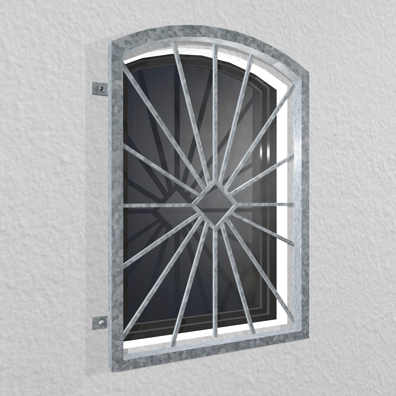 Fenstergitter verzinkt Sonne Karo Oberbogen