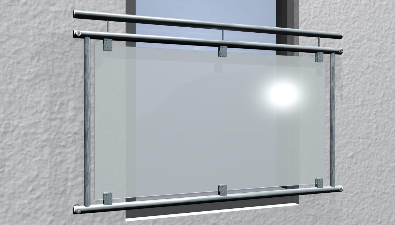 Französischer Balkon verzinkt Milchglas