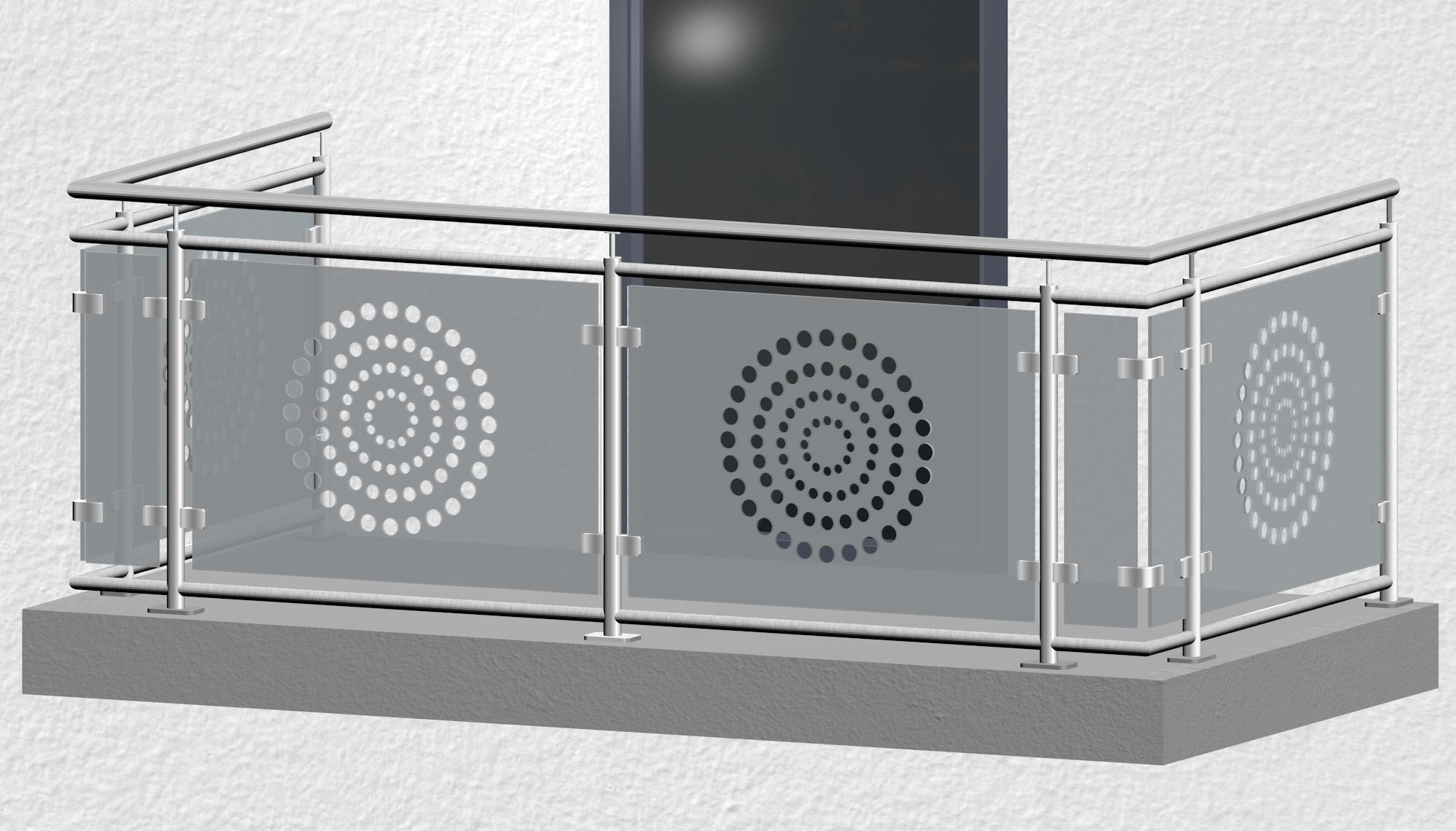 Balkongeländer Edelstahl Designglas KR