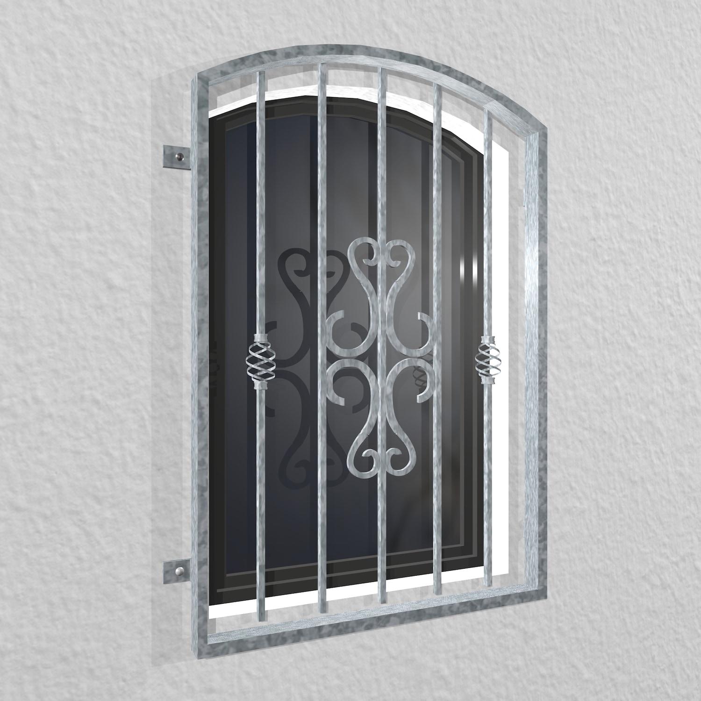 Fenstergitter verzinkt Schnörkel Oberbogen