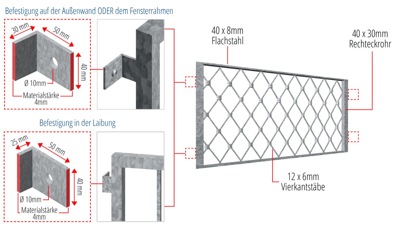 Kellerfenstergitter verzinkt Rauten