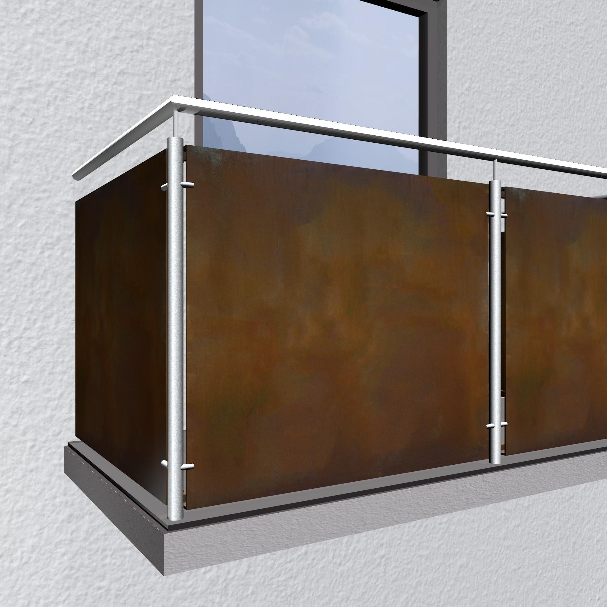 Balkonverkleidung Cortenstahl Vollblech