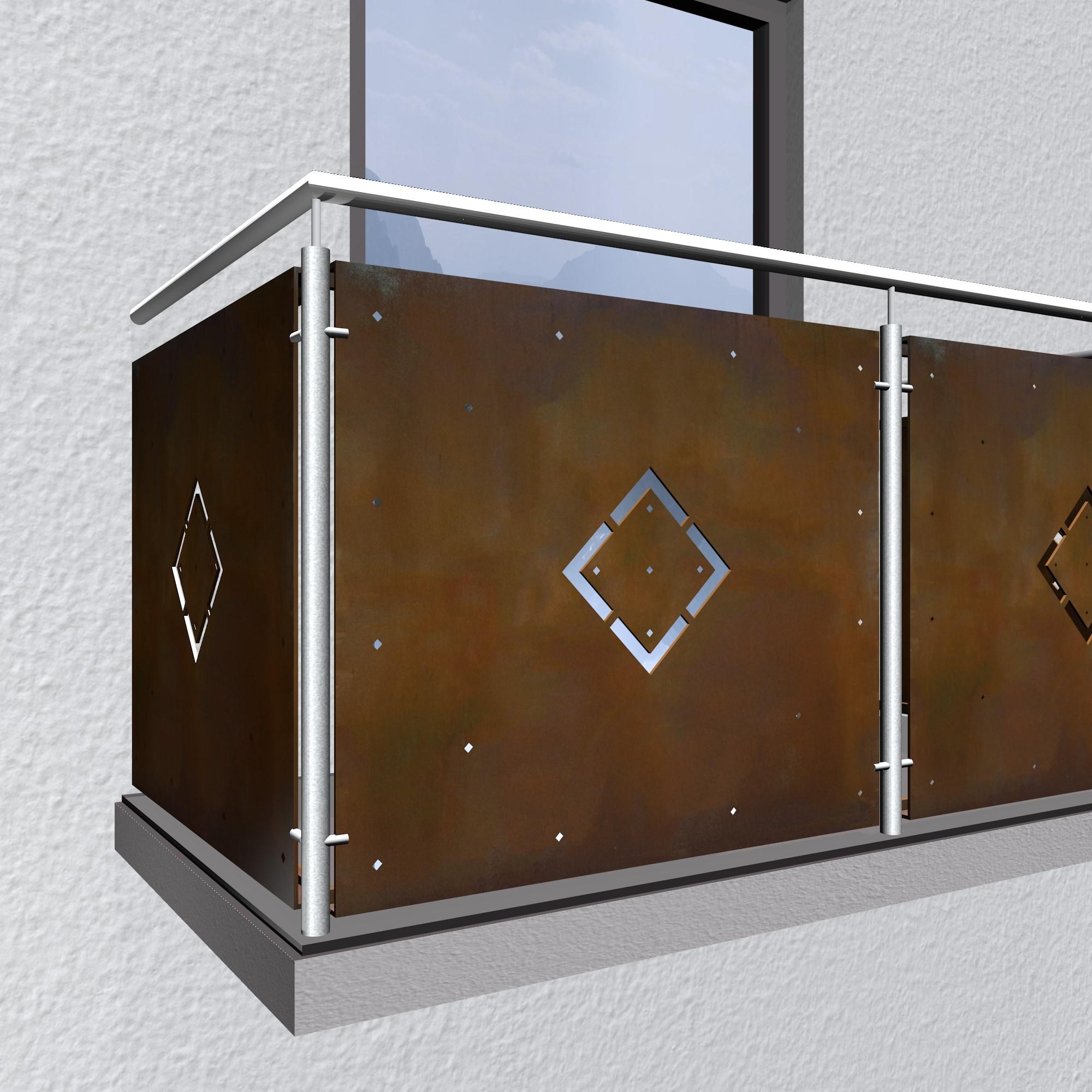 Balkonverkleidung Cortenstahl WÜ