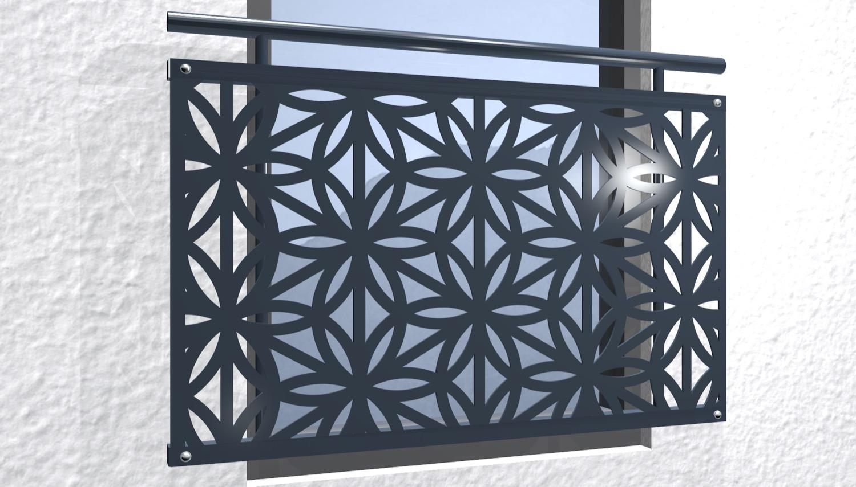 Französischer Balkon verzinkt Designblech Blütentraum