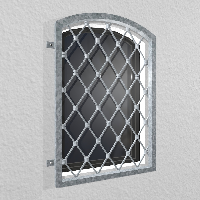 Fenstergitter verzinkt Rauten Oberbogen
