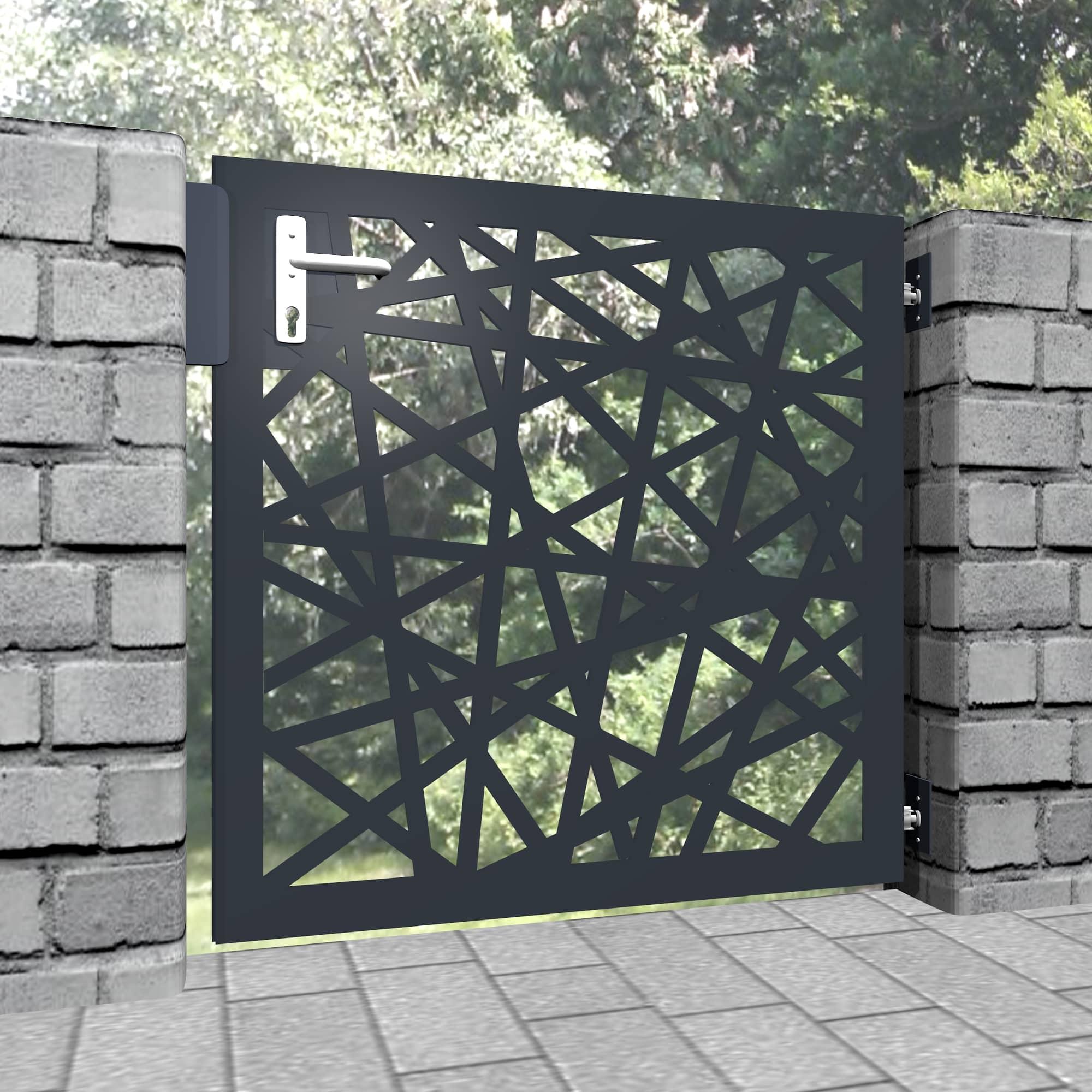 Gartentür Alu 1-flügelig Laserschnitt Design AB 1