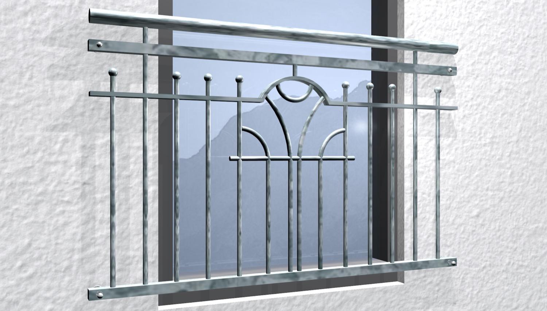 Französischer Balkon verzinkt Modern II Ornament