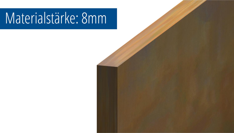 Cortenstahl Blech Zuschnitt Stärke 8 mm