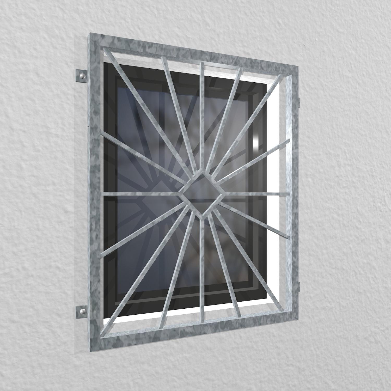 Fenstergitter verzinkt Sonne Karo