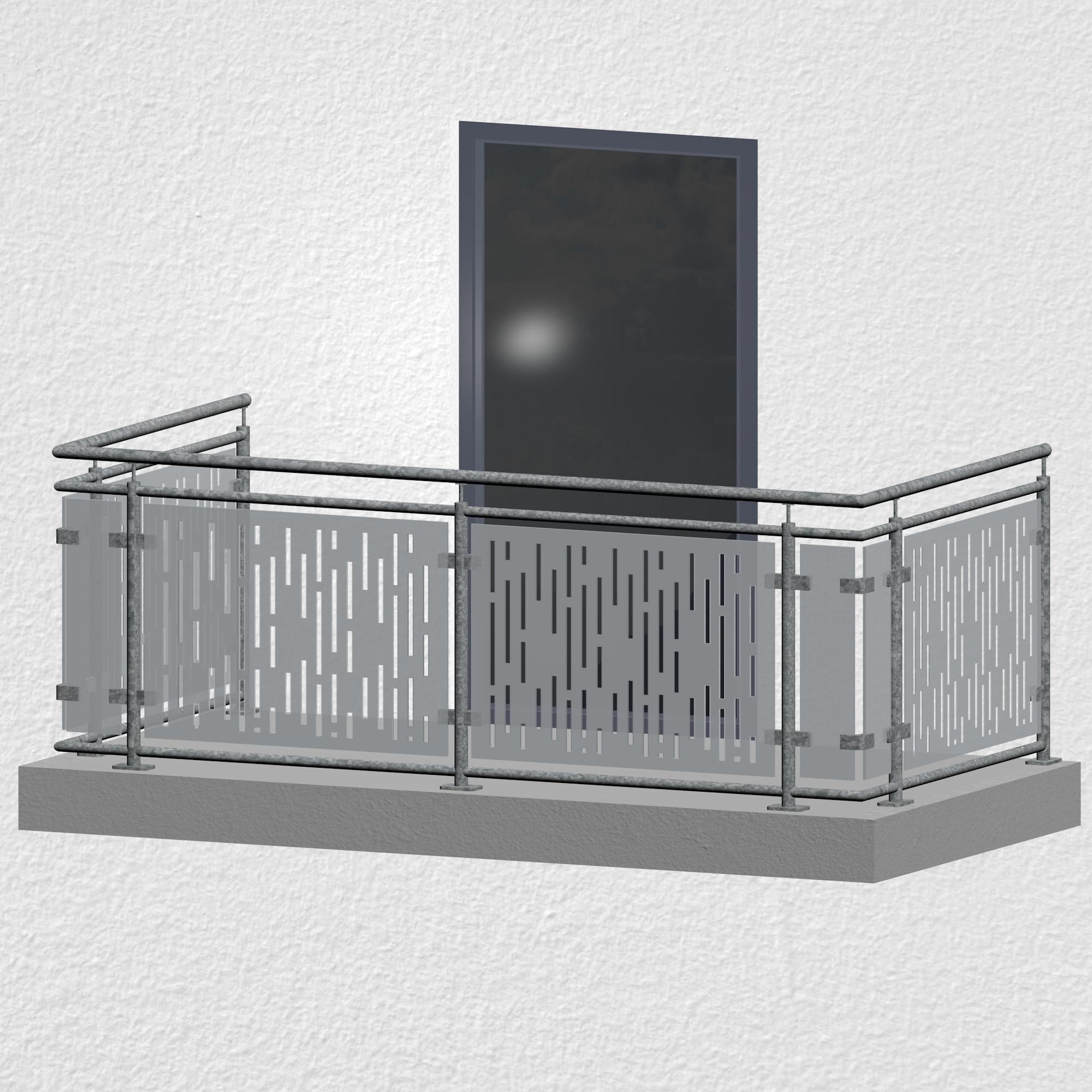 Balkongeländer verzinkt Designglas SF VE