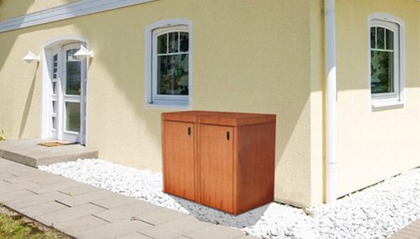Doppel Mülltonnenbox Cortenstahl mit Flachdach