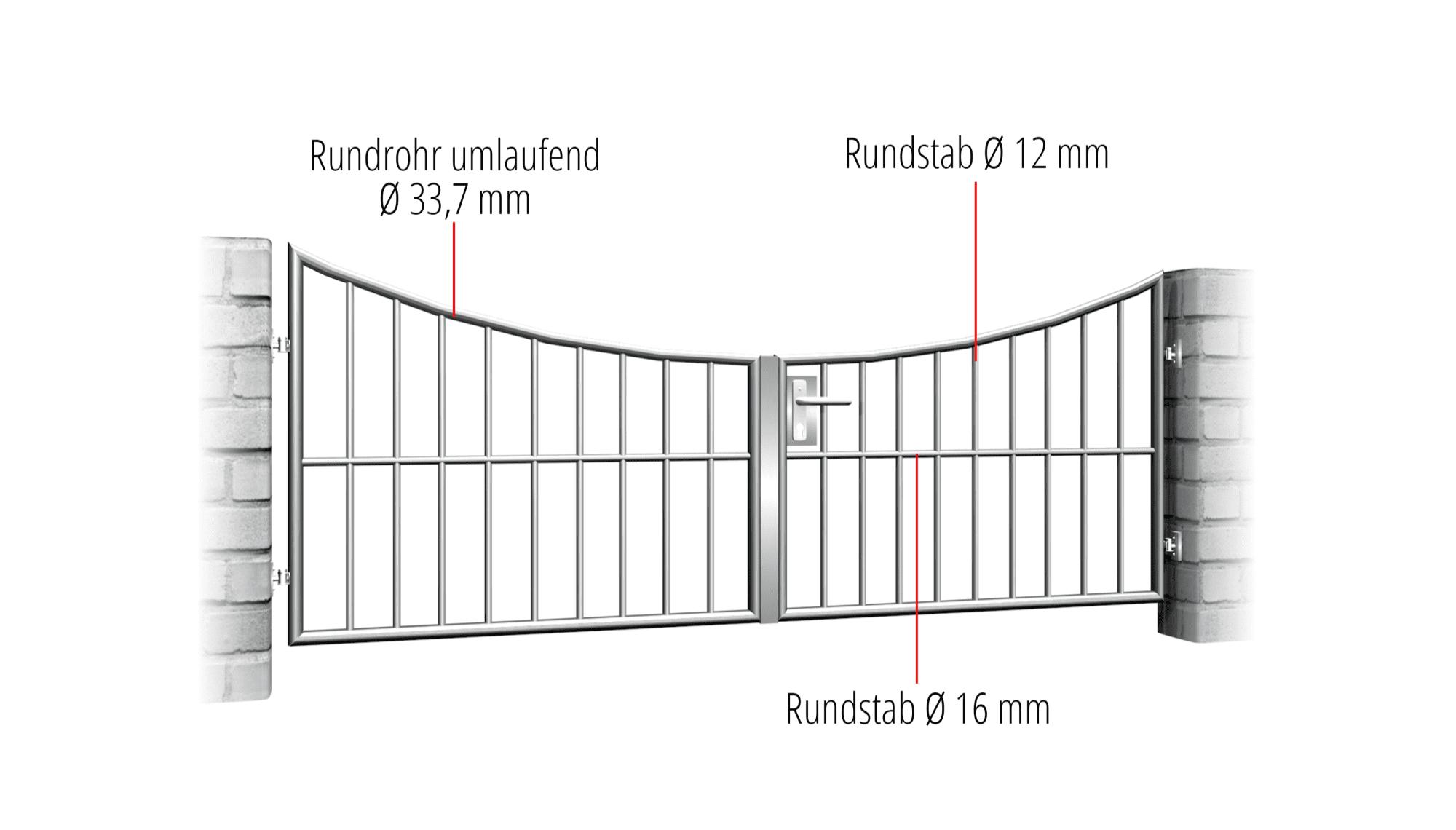 Gartentor Edelstahl 2-flügelig Vertikalstab, UB