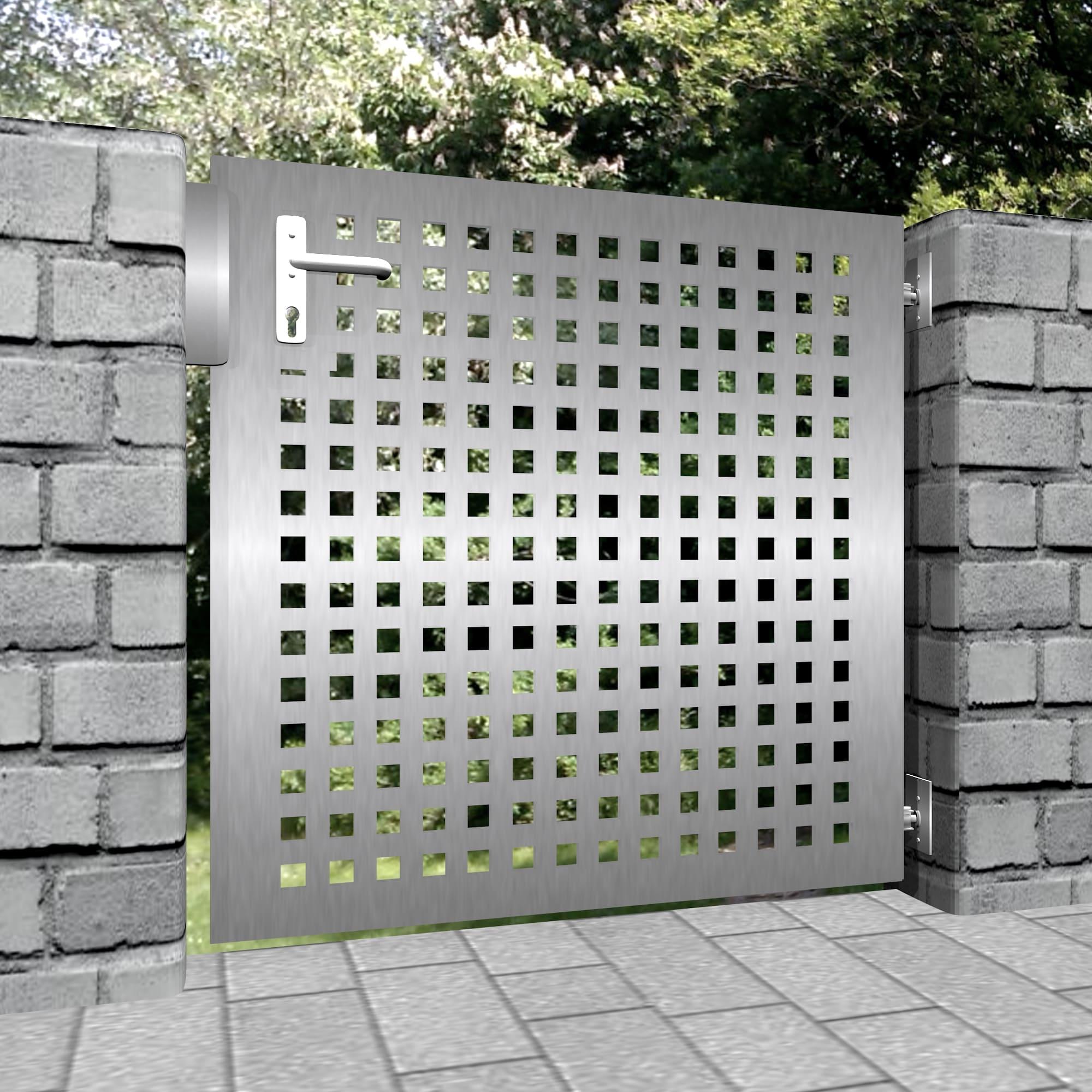 Gartentür Edelstahl 1-flügelig Laserschnitt Design QL